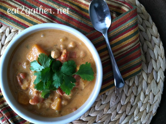 Moroccan Coconut Chick Pea Soup served over Brown Rice