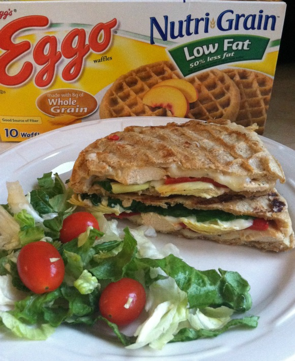 Chicken and Roast Red Pepper Waffle Panini