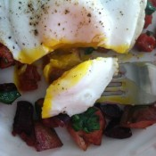 Roasted Vegi Hash with a fried egg on top.