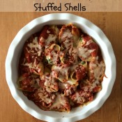Cheesy Chicken & Spinach Stuffed Shells ~ healthy and easy make ahead meal for busy back to school season!
