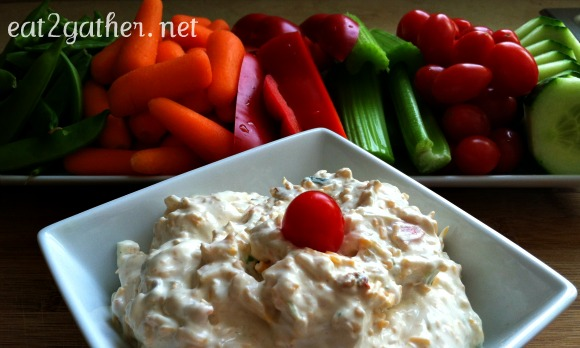 Veggie Dip - loaded with bits for vegetables and shredded cheese right in the dip!