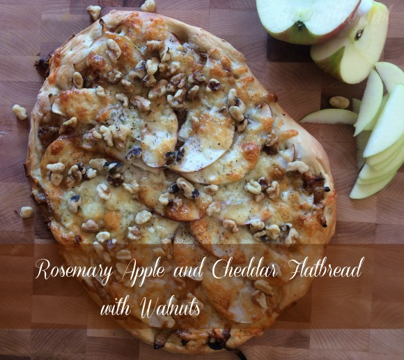Rosemary Apple and Cheddar Flatbread with Walnuts