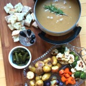 Cheddar Stout Fondue with roasted vegetables