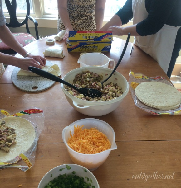 Freezer meals - breakfast burrito assembly line