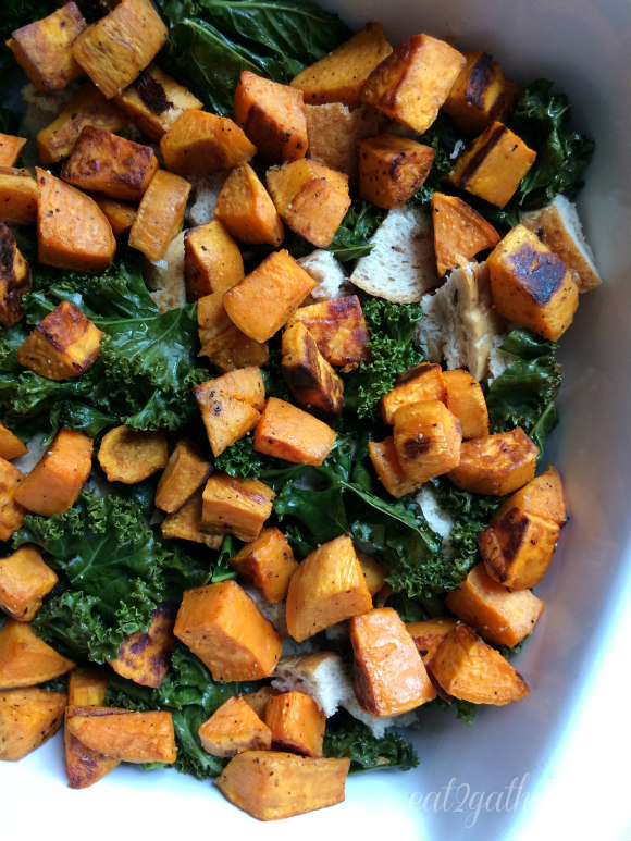 Cheese Sweet Potato and Kale Strata