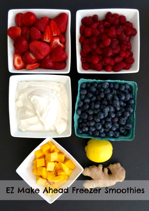 Easy Make Ahead Freezer Smoothies great for quick back to school snack or breakfast!