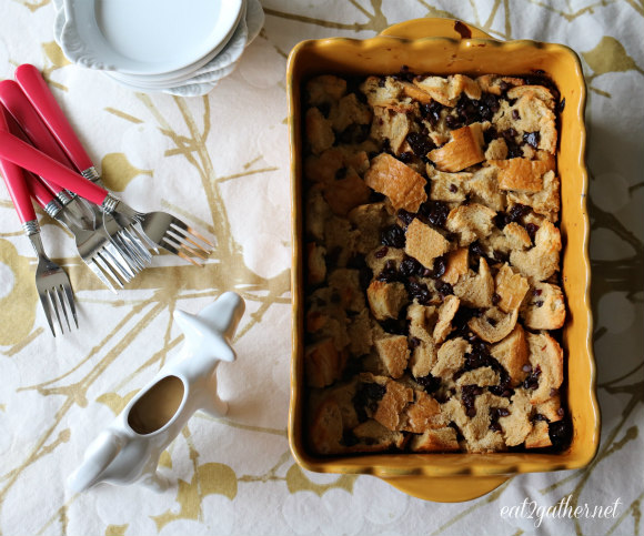Cherry Chocolate Chip Bread Pudding with Maple Cream Sauce