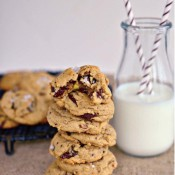 Simply Scratch – Salted Pistachio Dark Chocolate Chunk Cookies