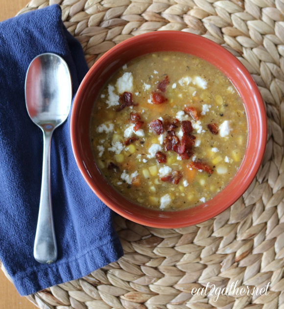 Corn and Sweet Potato Chowder with Feta and Bacon