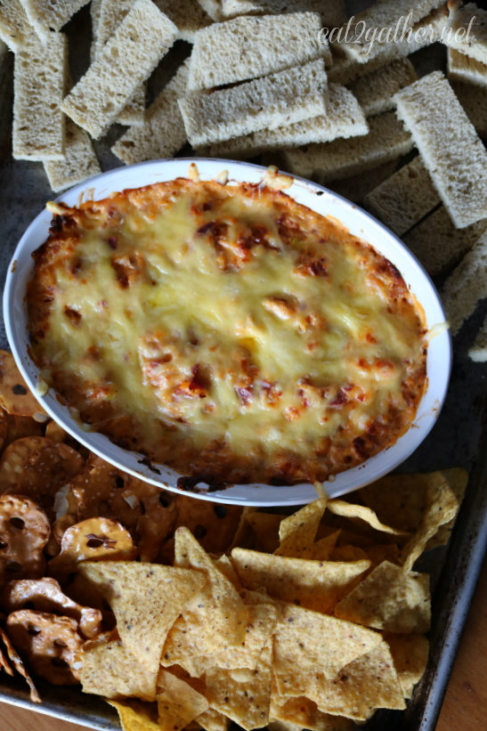 Hot Reuben Dip with Rye Toasts